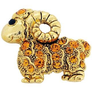 Cubic Zirconia Golden Brown Sheep Brooch Pin Pendant