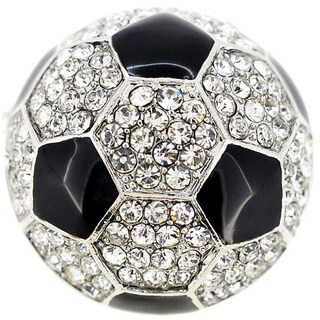 Black White Soccer Ball Crystal Pin Brooch