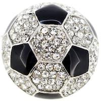 Black White Soccer Ball Crystal Pin Brooch