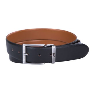 Cavalli Class Black and Cognac Leather Reversible Logo Belt