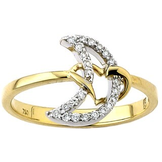 Neda Behnam 18k Gold 1/6ct TDW Diamond Moon Design Midi Ring (G-H, VS1)