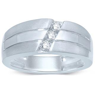 Unending Love 10k White Gold 1/4ct TDW Round-cut Diamond 3-stone Slant Band Ring (I-J, I2-I3)