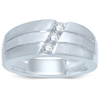 Unending Love 10k White Gold 1/4ct TDW Round-cut Diamond 3-stone Slant Band Ring|https://ak1.ostkcdn.com/images/products/10665330/P17730615.jpg?impolicy=medium
