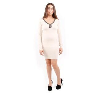 Hadari Women's Long Sleeve Cold Shoulder Sweater