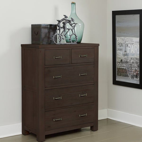 Highlands Collection Espresso 5 Drawer Chest Free Shipping Today 10665371