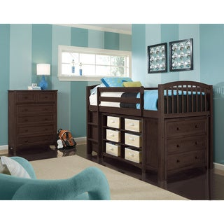 School House Collection Chocolate Junior Loft with Rails, Short Vertical Bookcase, Horizontal Bookcase and 3-Drawer Chest
