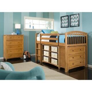 School House Junior Pecan Loft Bed with Storage