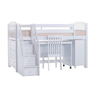 School House White Junior Loft w/ Storage, Desk & Stairs