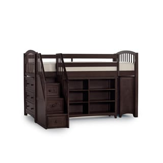 School House Junior Chocolate Loft Bed with Storage and Stairs