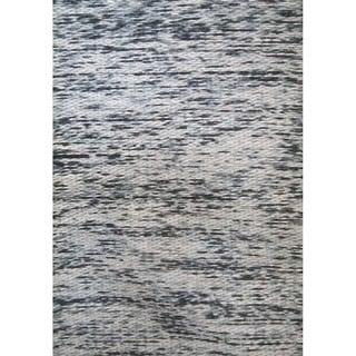Flat-Weave Abstract Pattern Ebony/Ebony Polyester (5 x 8) Area Rug
