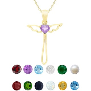 Dolce Giavonna Goldtone Sterling Silver Gemstone Birthstone Cross Necklace