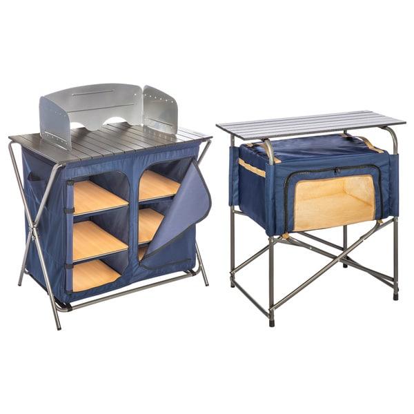 Kamp-Rite Folding Prep Table with Pantry 2-piece Set