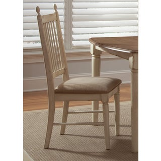 Cove Weathered Ivory and Maple Upholstered Side Chair