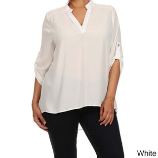 MOA Collection Women's Plus Size V-Neck with Roll up Sleeves