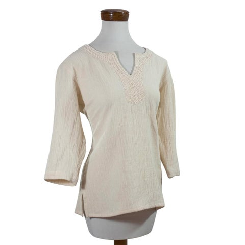 Handcrafted Women's Cotton 'Casual Beauty' Tunic (El Salvador)