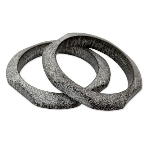 Handmade Set of 2 Mango Wood 'Forest Whisper' Bracelets (India)