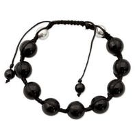 Handmade Sterling Silver 'Moonlit Protection' Onyx Bracelet (India)