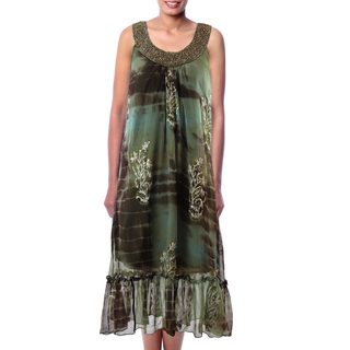 Handmade Viscose 'Jaipuri Mystique' Beaded Dress (India)