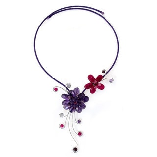 Stainless Steel 'Gorgeous Blossom' Multi-gemstone Choker (Thailand)