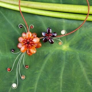 Handmade Stainless Steel 'Gorgeous Blossom' Multi-gemstone Choker (Thailand)