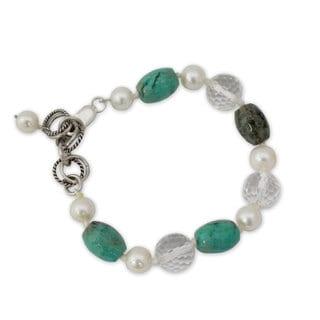 Handmade Sterling Silver 'Sweet Dream' Pearl Multi-gemstone Bracelet (7 mm) (India)