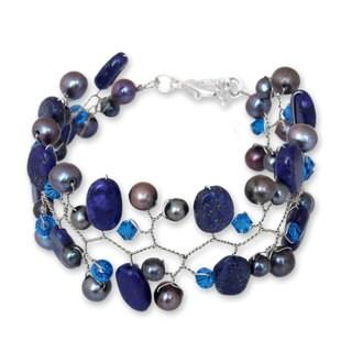 Handmade Silver 'Blue Glam' Pearl Lapis Lazuli Bracelet (6 mm) (Thailand)