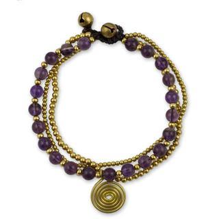 Handcrafted Brass 'Daydreams' Amethyst Bracelet (Thailand)