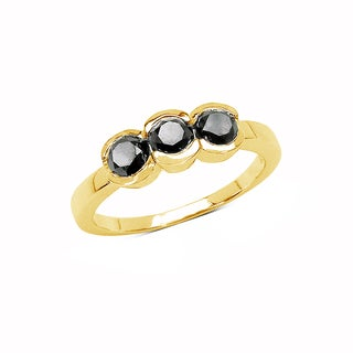 Olivia Leone Yellow Goldplated Sterling Silver 1 1/6Ct Tdw Black Diamond Ring