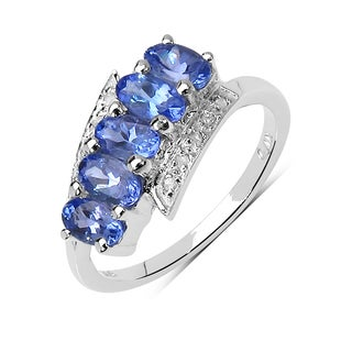Malaika Sterling Silver 1 1/3ct Tanzanite and White Diamond Ring