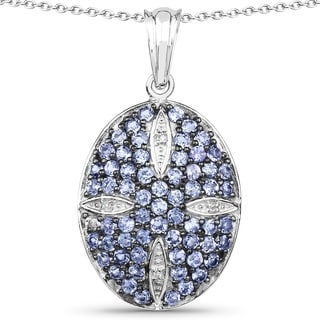 Malaika Sterling Silver 2 1/4ct Tanzanite and White Topaz Pendant