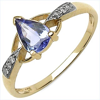 Olivia Leone 10k Yellow Gold 5/8ct Tanzanite and White Diamond Accent Ring