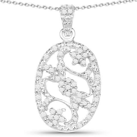 Malaika Sterling Silver 1/4ct TDW Diamond Pendant