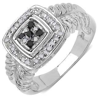 Malaika Sterling Silver 1/5ct TDW Black and White Diamond Ring