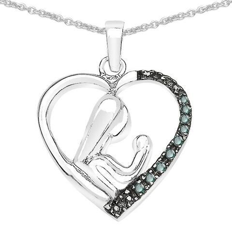 Malaika Sterling Silver 1/10ct TDW Black Diamond Pendant