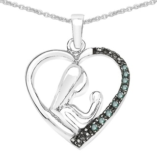 Malaika Sterling Silver 1/10ct TDW Black Diamond Pendant