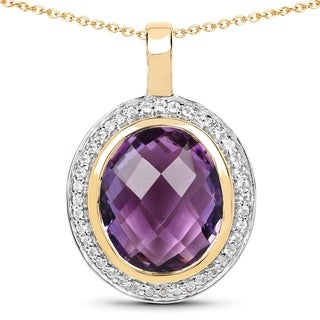 Malaika 14k Yellow Goldplated Sterling Silver 5 5/8ct Amethyst and White Topaz Pendant