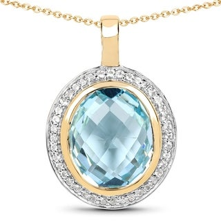 Malaika 14k Yellow Goldplated Sterling Silver 9ct Blue Topaz and White Topaz Pendant