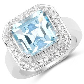 Malaika Sterling Silver 6 3/8ct Blue Topaz and White Topaz Ring