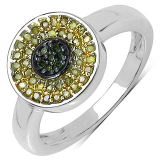 Malaika Sterling Silver 1/5ct Green TDW Diamond and Yellow Diamond Ring