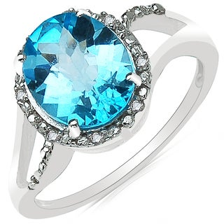 Olivia Leone 10k White Gold 3 1/2ct Swiss Blue Topaz and Diamond Accent Ring
