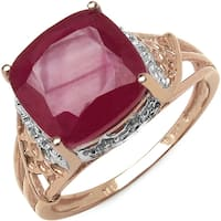 Malaika 14k Rose Goldplated Sterling Silver 5ct Ruby and White Topaz Ring