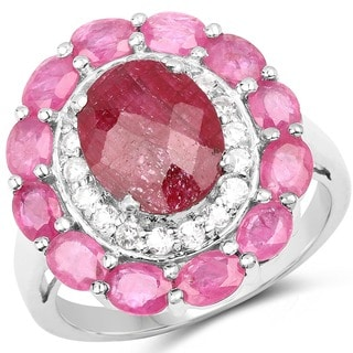 Malaika Sterling Silver 6 1/4ct Ruby and White Topaz Ring