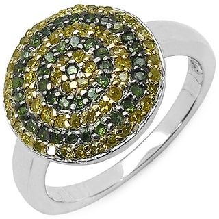 Malaika Sterling Silver 2/5ct TDW Green and Yellow Diamond Ring