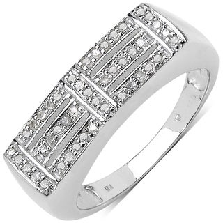 Malaika White Goldplated Sterling Silver 1/4Ct Tdw Diamond Ring