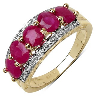 Olivia Leone Yellow Goldplated Sterling Silver 2 1/2Ct Ruby Ring