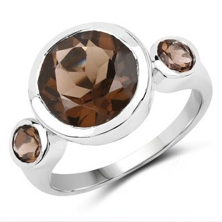 Malaika Sterling Silver 3 1/2ct Smoky Quartz Ring