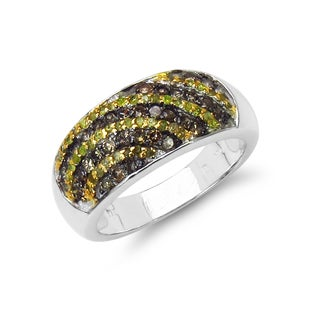Malaika Sterling Silver 3/5ct TDW Yellow and Champagne Diamond Ring