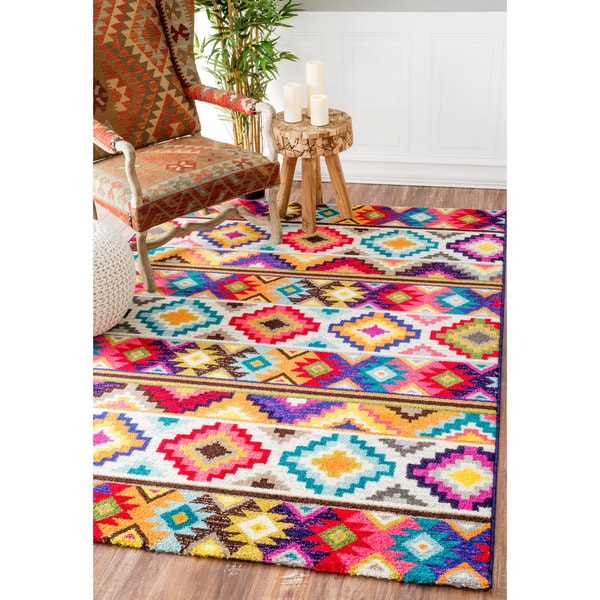 Nuloom Retro Tribal Diamonds Multi Kids Rug 9 X 12