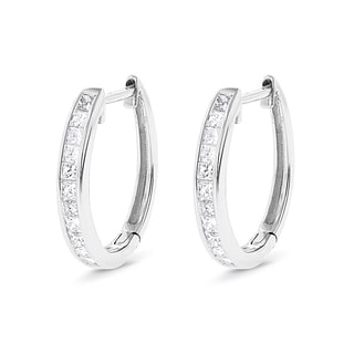 Luxurman 14k Gold 3/5ct TDW Princess-cut Diamond Hoop Earrings