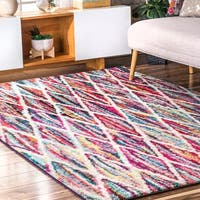nuLoom Contemporary Kids' Rainbow Striped Multicolored Rug - 5' x 8'